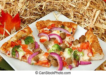 höst, färger, falla, pizza