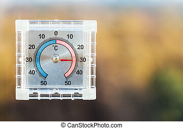 Utomhus, autum, fönster glasruta, termometer, hem. Utomhus