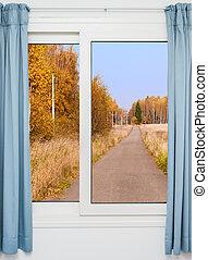 höst, fönster, väg, landskap, synhåll