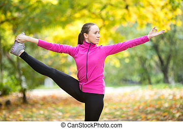 höst, fitness, outdoors:, utthita, hasta, padangustasana