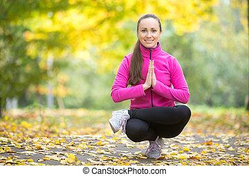 höst, fitness:, toestand, pose