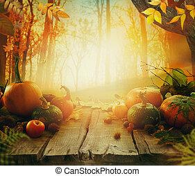 höst, frukt, på, bord