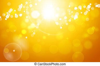 höst, gyllene, abstrakt, bakgrund