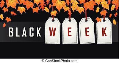 höst, hängande, vecka, befordran, etikett, svart, bladen