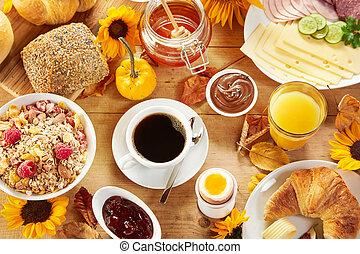 höst, interkontinental, frukost, sätta, bord