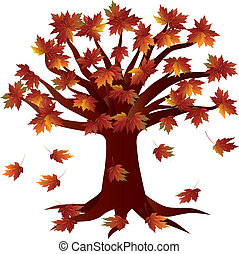 höst, krydda, träd, illustration, falla