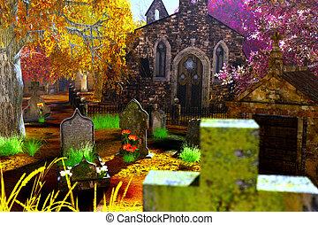 höst, kyrkogård, render, 3