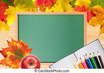 höst lönn lämnar, över, ved struktur, och, skola, blackboard, närbild