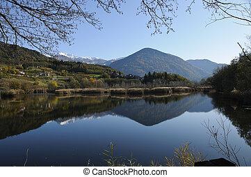 höst landskap, med, insjö, och, mountains