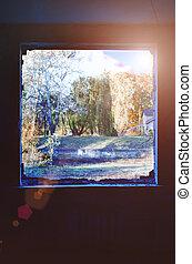 höst, landskap., synhåll, fönster