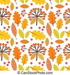 höst, pattern., bär, bladen, seamless