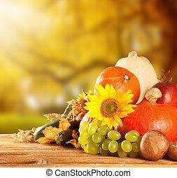 höst, skördat, frukt, och, grönsak, på, ved