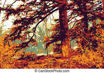 höst skog, vektor, illustration