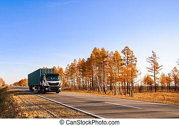 höst, vit, semi-truck, väg