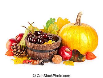 höstlig, skörd, frukter och vegetables, med, gul lämnar