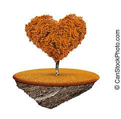 höstlig, träd, in, den, form, hjärta