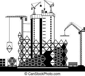 høj, konstruktion, stige, bygninger