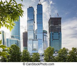 høj, moderne, skyskrabere