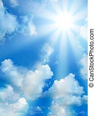 høj, solfyldt, skyer, kvalitet, himmel