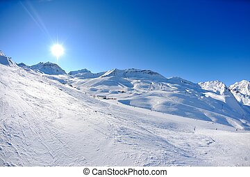 høje bjerge, under, sne, ind, den, vinter