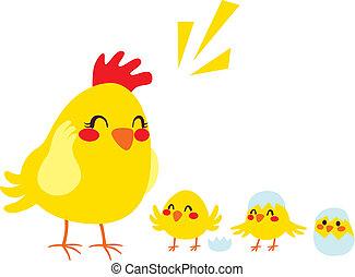 høne, og, chicks