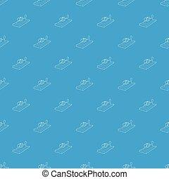 høvlemaskine, på, træ, mønster, vektor, seamless, blå