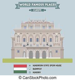húngaro, ópera, house., estado, hungría, budapest
