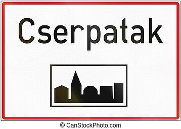 húngaro, regulatory, muestra del camino, -, urbanizado, área