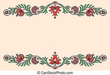 húngaro, vindima, etiqueta, tradicional, motives, floral