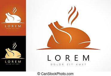 hús, aláír, madár, icon., sült, tyúk, logo., csirke