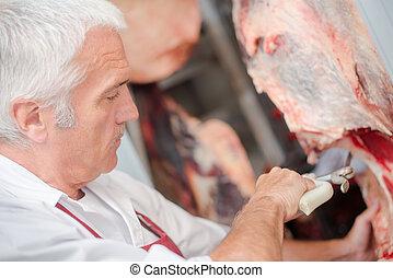 hús, hentes, fűrészelés