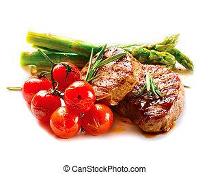 hús, izomerő, növényi, steak., grillezett, grillsütő, ...