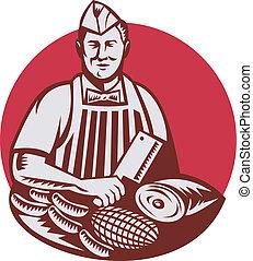 hús, munkás, hentes, retro, vágó munkás, kés, szabász