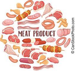 hús termék, style., karikatúra