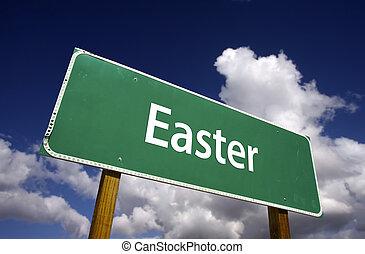 húsvét, út cégtábla