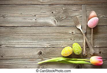 húsvét, asztal letesz, noha, eredet, tulipánok, és, evőeszköz