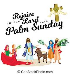 húsvét, család, emberek, jézus, jeruzsálem, pálma, köszöntések, előbb, krisztus, szamár, pálma, vallás, vasárnap, ünnep, gördülni, boldog, belépés, ünneplés, ábra, zöld, vektor, ember