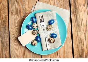 húsvét, dekoráció, noha, fürj, és, chocolate ikra