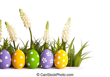 húsvét, elpirul pete, képben látható, a, zöld, grass.