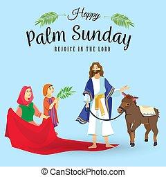 húsvét, emberek, jézus, jeruzsálem, pálma, köszöntések, childrens, krisztus, szamár, pálma, vallás, vasárnap, előbb, ünnep, gördülni, boldog, belépés, ünneplés, ábra, zöld, vektor, ember