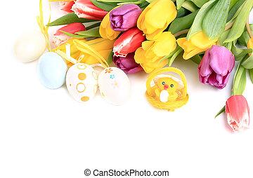 húsvét, eredet, tulipánok, háttér, csirke, elpirul pete