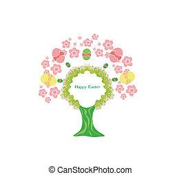 húsvét, fa, keret
