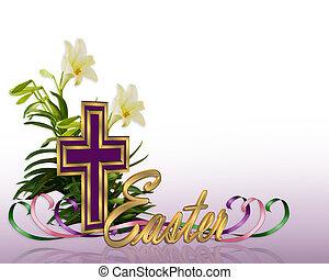 húsvét, floral határ, kereszt
