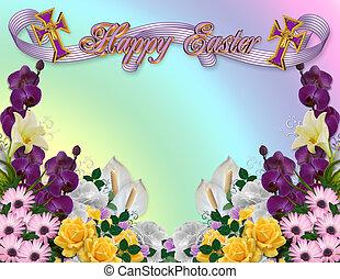 húsvét, floral határ