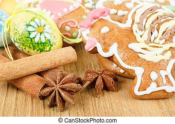 húsvét, gingerbreads, és, festék pete