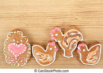 húsvét, gingerbreads, kakas, és, tyúk