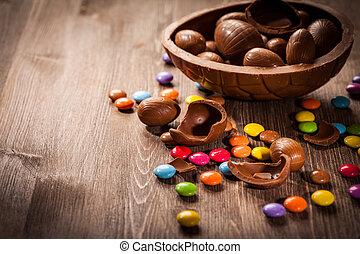 húsvét, háttér, csokoládé