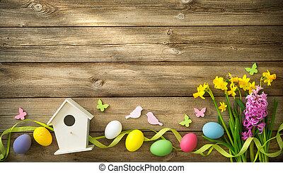 húsvét, háttér, noha, színes, ikra, és, visszaugrik virág