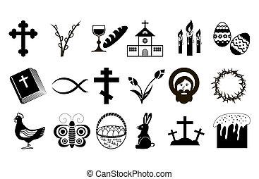húsvét, icons.