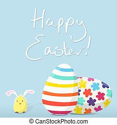 húsvét, kártya, boldog